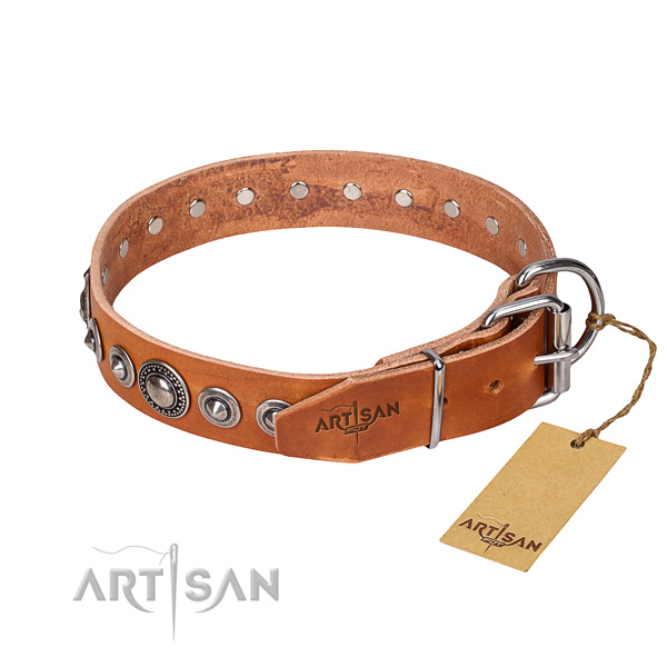 Natural genuine leather dog collar made of top notch material with rust-proof adornments
