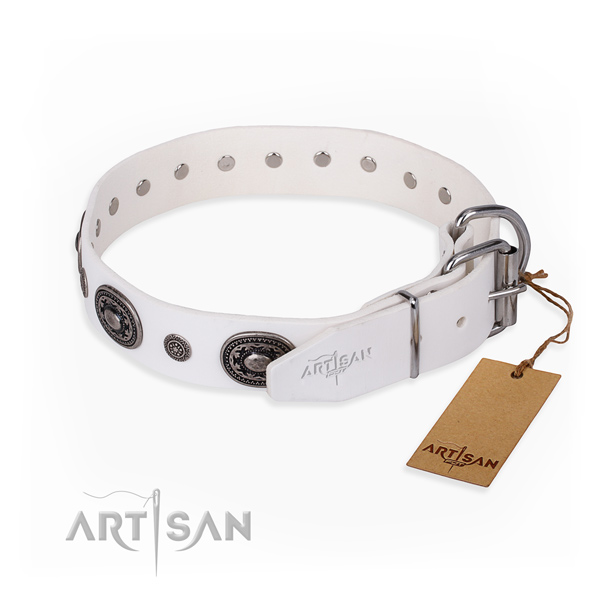 Soft to touch leather dog collar handmade for fancy walking