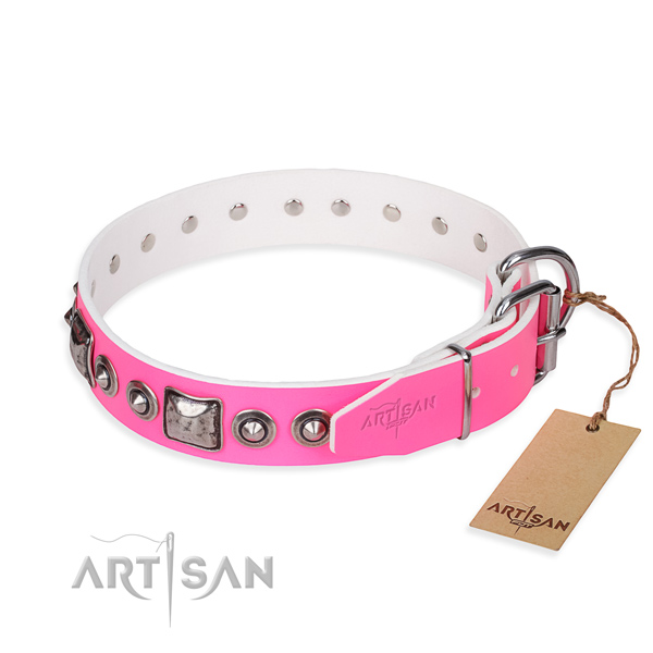 Quality full grain genuine leather dog collar created for fancy walking