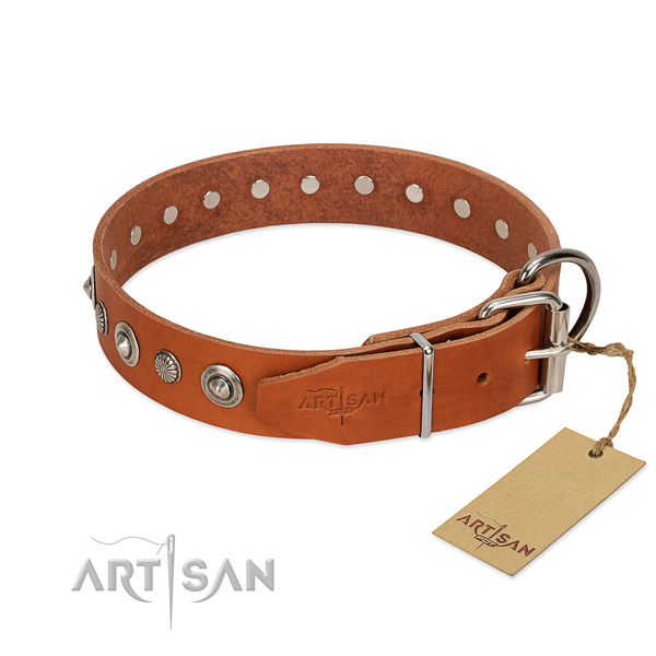 Reliable full grain genuine leather dog collar with stylish adornments