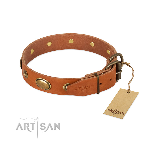 Rust resistant fittings on genuine leather dog collar for your four-legged friend