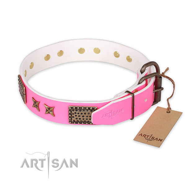 Durable D-ring on full grain natural leather collar for your impressive canine