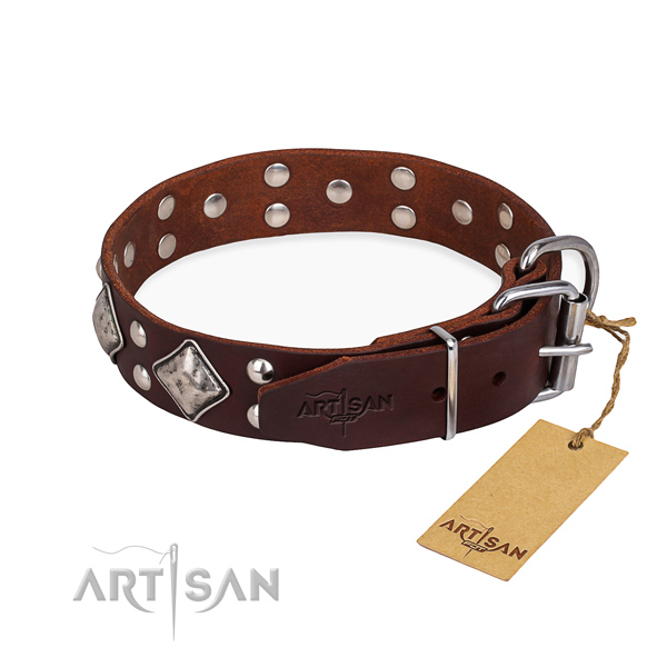 Full grain genuine leather dog collar with exceptional durable decorations