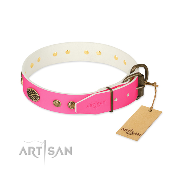 Corrosion resistant embellishments on full grain genuine leather dog collar for your dog