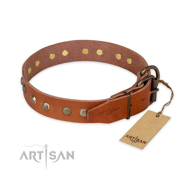 Corrosion proof hardware on natural genuine leather collar for your lovely canine
