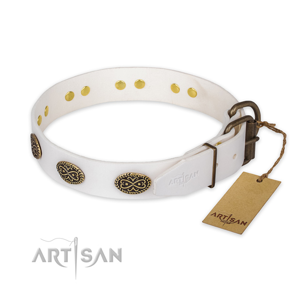 Reliable D-ring on full grain genuine leather collar for everyday walking your pet