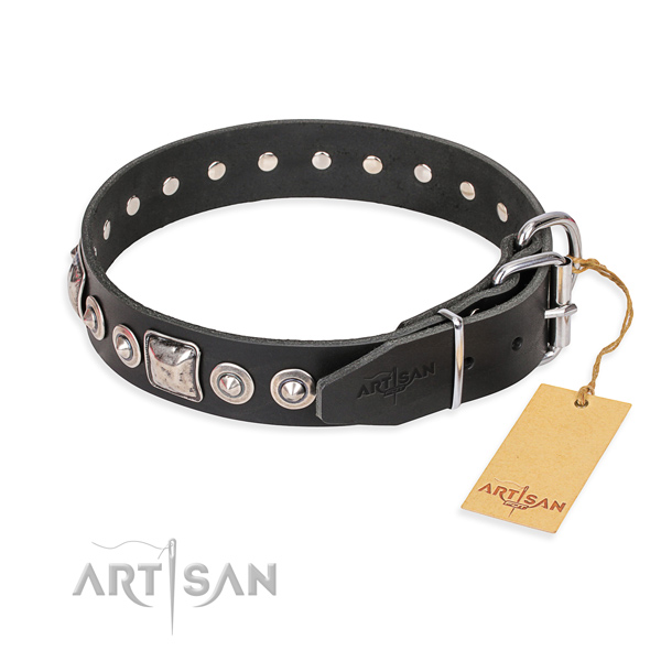 Full grain genuine leather dog collar made of quality material with strong studs
