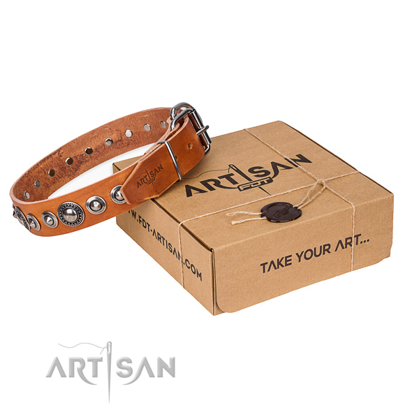 Full grain natural leather dog collar made of high quality material with corrosion proof D-ring