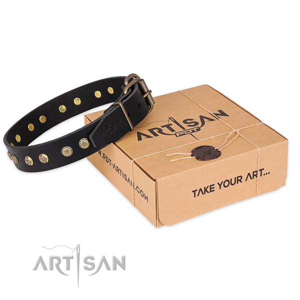 Durable buckle on full grain natural leather collar for your impressive canine