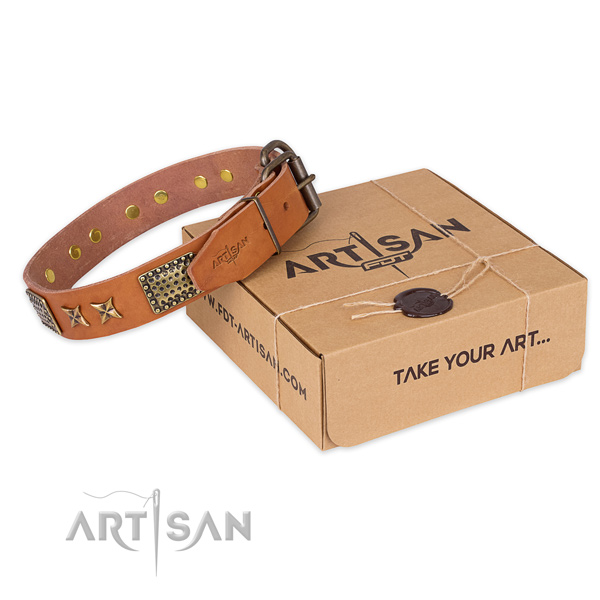 Corrosion proof buckle on natural genuine leather collar for your handsome doggie