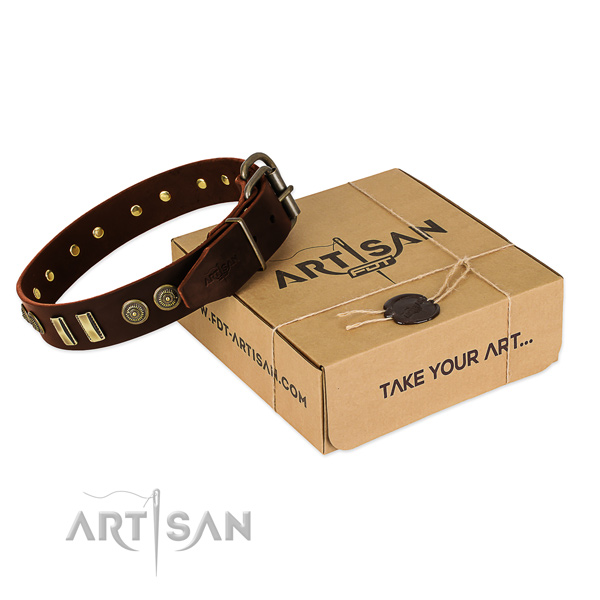 Strong D-ring on full grain genuine leather dog collar for your doggie