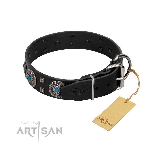 Gentle to touch genuine leather dog collar with embellishments for easy wearing