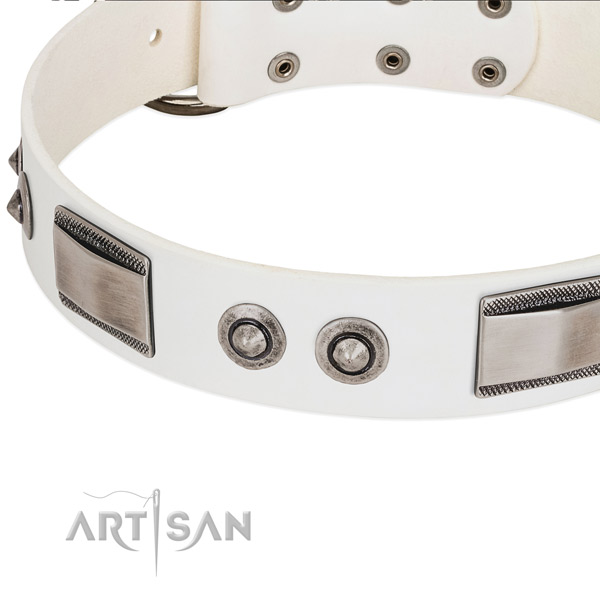 Handcrafted dog collar of full grain leather with embellishments