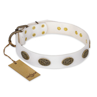 """Lovely Lace"" FDT Artisan White Leather Cane Corso Collar with Old Bronze Look Ovals"