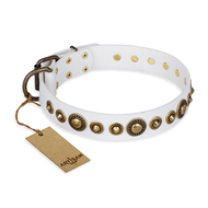 """Swirl of Fashion"" FDT Artisan Delicate White Leather Cane Corso Collar with Stunning Bronze-Plated Round Studs"