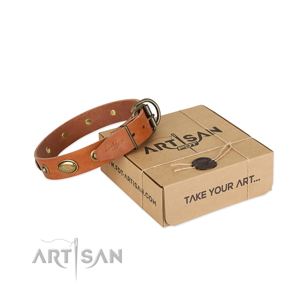 Corrosion resistant fittings on full grain leather dog collar for your four-legged friend