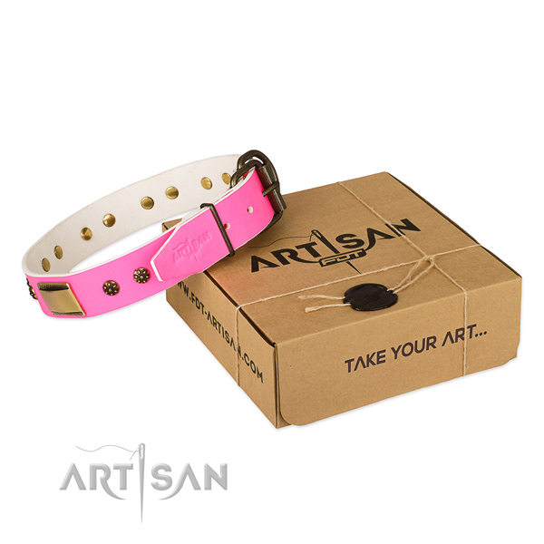 Easy wearing natural genuine leather collar for your beautiful doggie