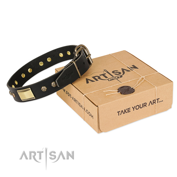 Fashionable natural leather collar for your impressive dog