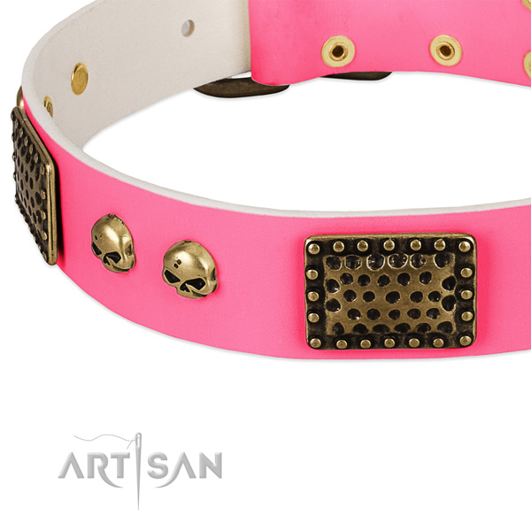Rust-proof fittings on leather dog collar for your dog