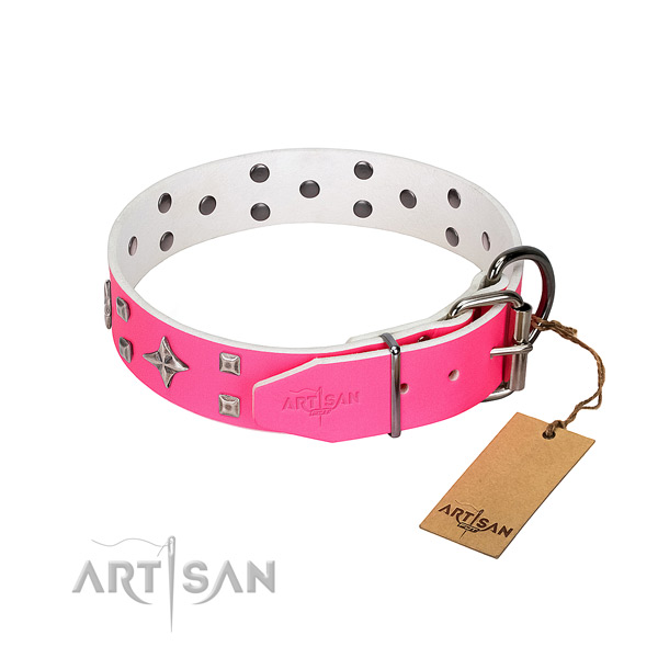 Full grain genuine leather dog collar with fashionable embellishments