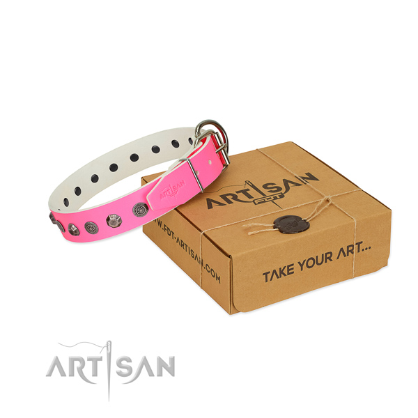 Full grain leather dog collar of high quality material with extraordinary embellishments