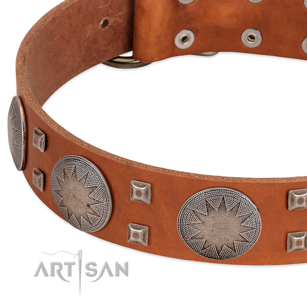 Comfortable wearing soft to touch full grain genuine leather dog collar