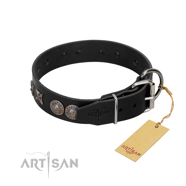 Basic training dog collar of leather with exceptional adornments