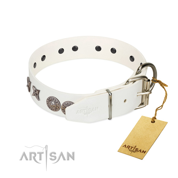 Comfortable wearing soft genuine leather dog collar with adornments