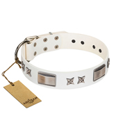 """Bling-Bling"" FDT Artisan White Leather Cane Corso Collar with Sparkling Stars and Plates"