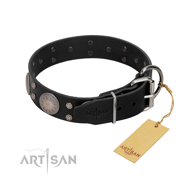 Soft leather dog collar with decorations for your lovely canine