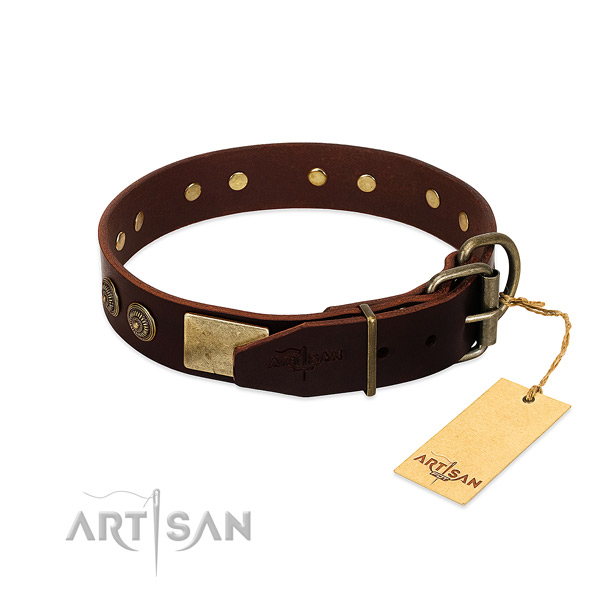 Rust resistant traditional buckle on genuine leather dog collar for your canine