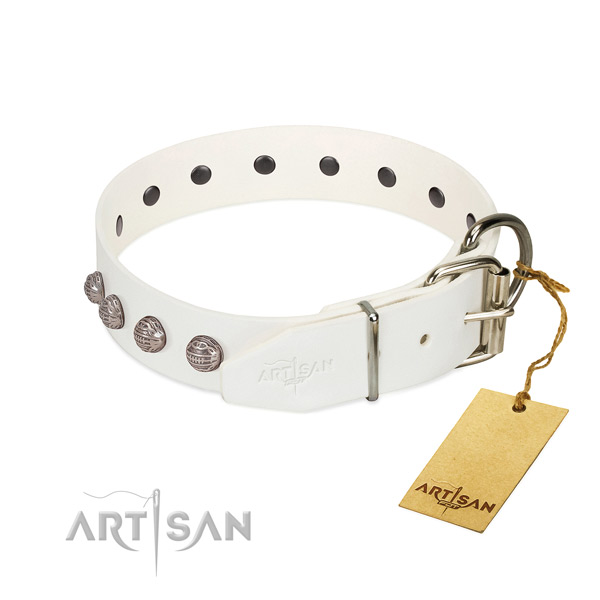 Genuine leather dog collar of soft material with stylish decorations