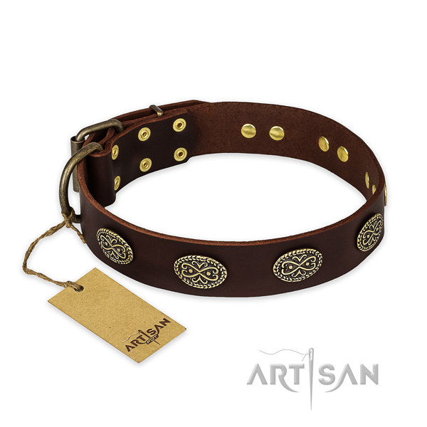 Stylish design natural genuine leather dog collar with strong fittings