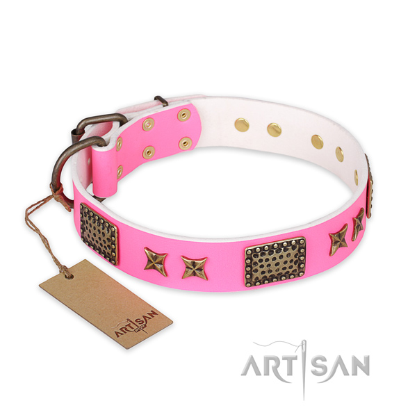 Adjustable natural genuine leather dog collar with strong D-ring