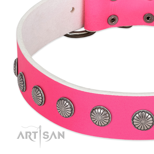 Flexible genuine leather dog collar with embellishments for walking