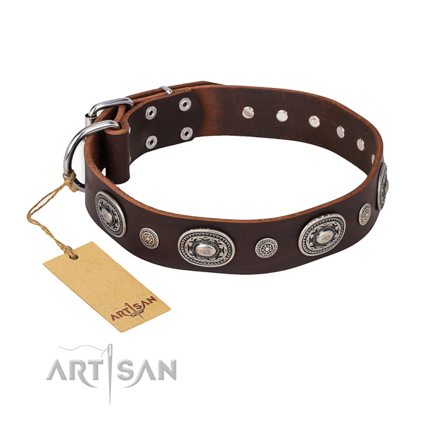 Quality full grain leather collar handmade for your dog
