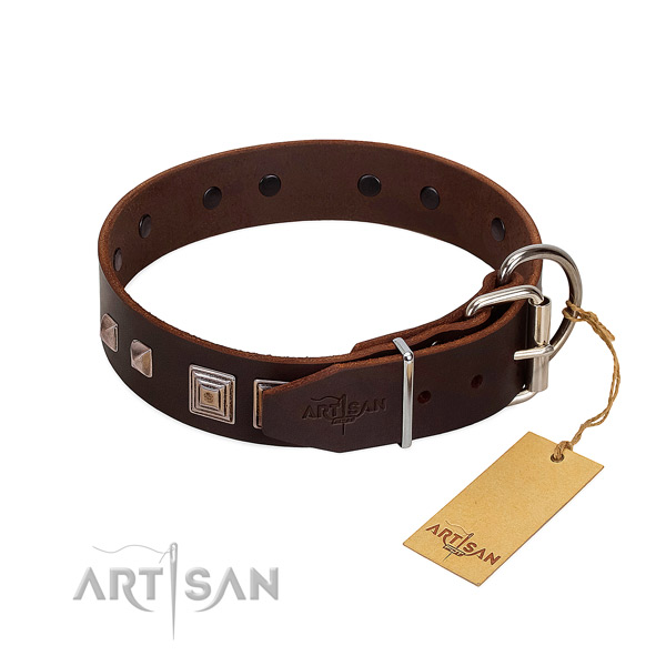Comfortable wearing natural leather dog collar with unusual decorations