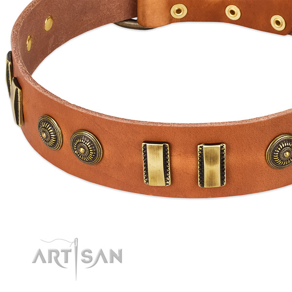 Rust resistant buckle on full grain natural leather dog collar for your four-legged friend