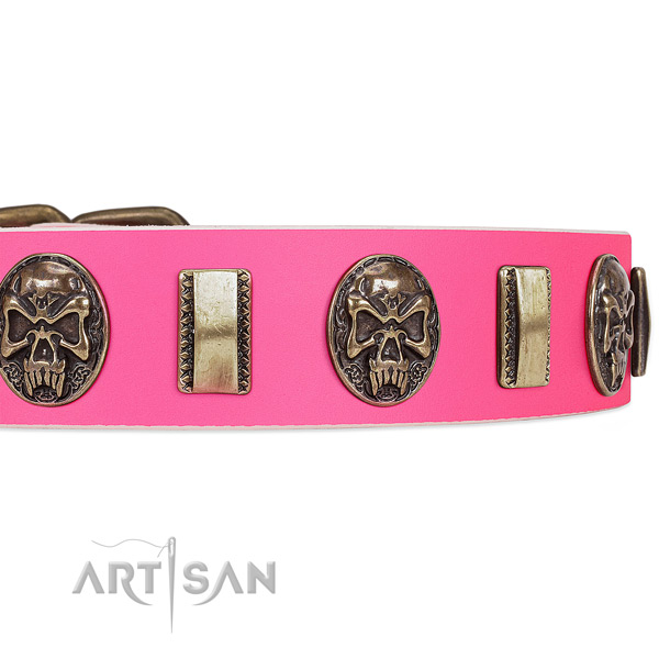 Corrosion resistant fittings on natural genuine leather dog collar for your canine