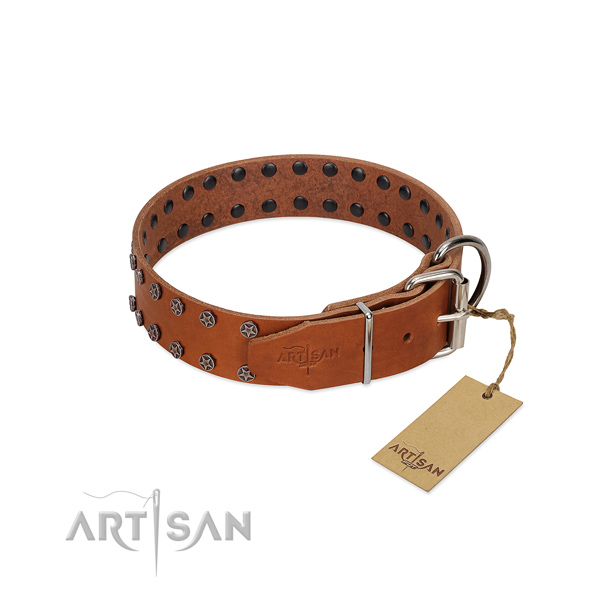 High quality full grain genuine leather dog collar with decorations for your dog