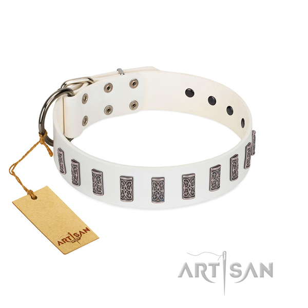 Stylish walking high quality leather dog collar with decorations