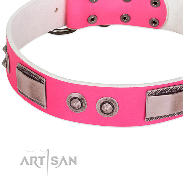 Easy to adjust full grain genuine leather collar with embellishments for your dog
