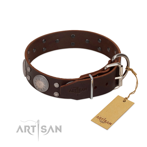 Rust-proof D-ring on full grain natural leather dog collar for everyday use