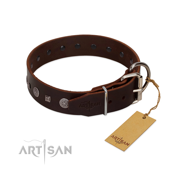 Top notch full grain genuine leather dog collar with studs