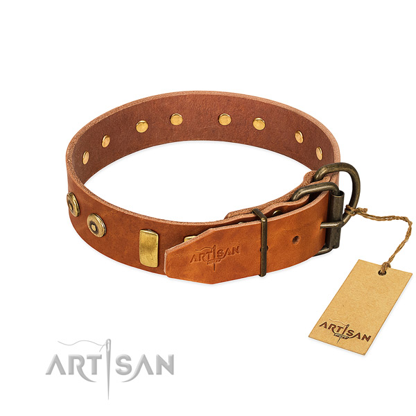 Designer embellished leather dog collar of best quality material