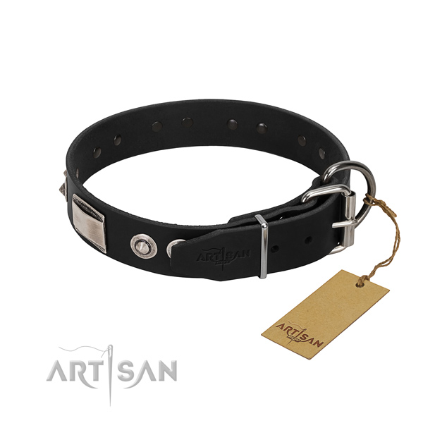 Easy adjustable collar of leather for your canine