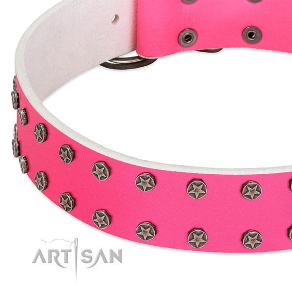 Gentle to touch natural leather dog collar with embellishments for your doggie