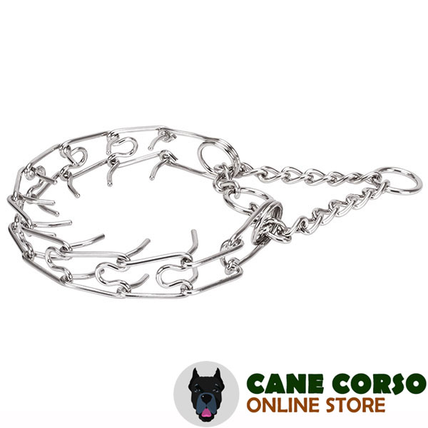 Durable stainless steel dog prong collar for large breeds