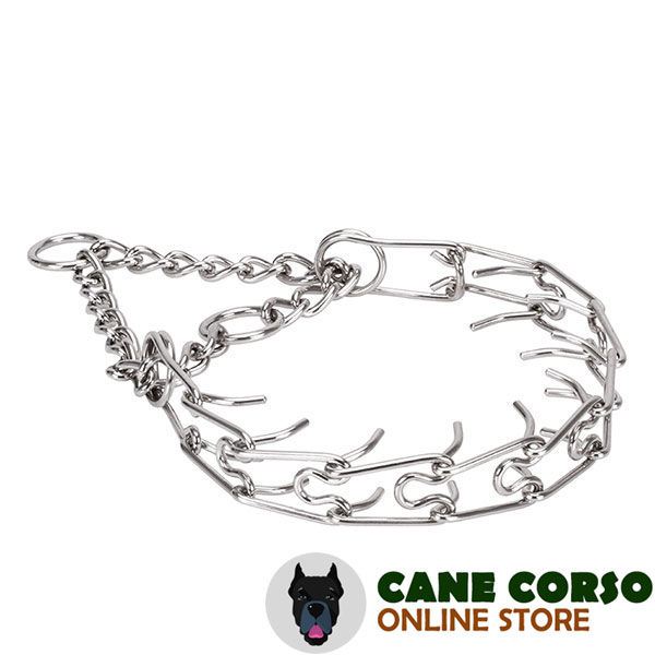 Corrosion proof stainless steel prong collar for aggressive dogs