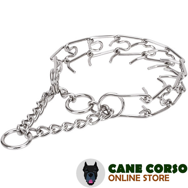 Strong stainless steel dog prong collar with corrosion proof removable links